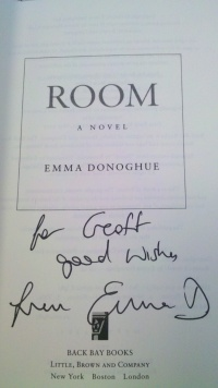 "Title page of ""Room"" signed by Emma Donoghue"