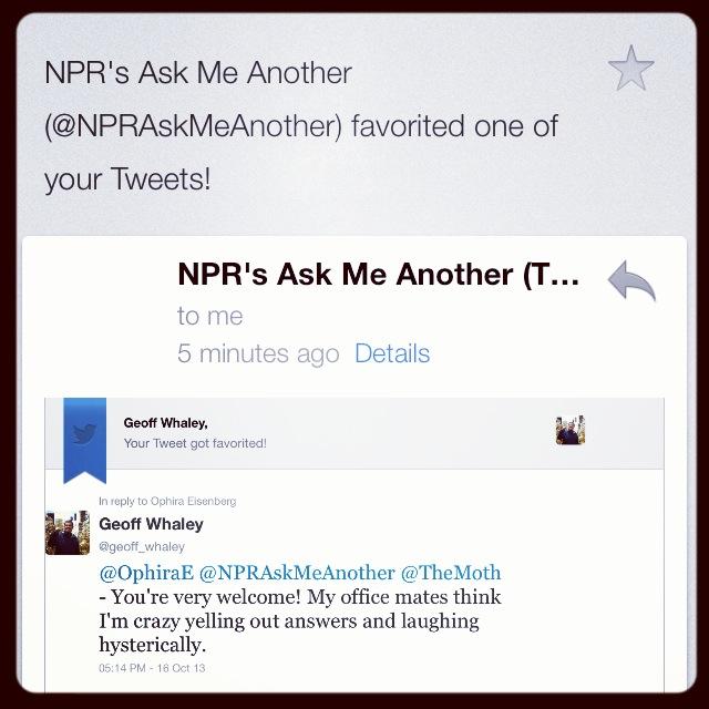 2013 10-15 I'm an NPR Rockstar!