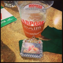 Post race free Harpoon and our medal/bottle opener.