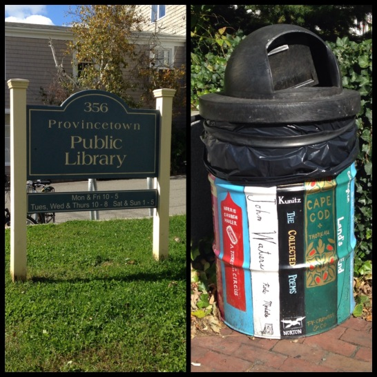 2015 10-18 PTown Sign and %22Book%22 trashcan